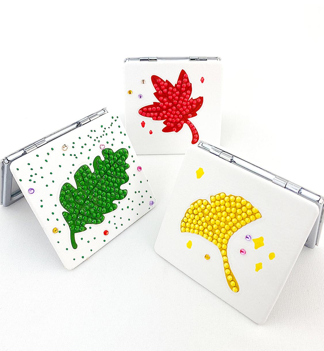 [만들기]반짝반짝 보석십자수 고급형거울-잎